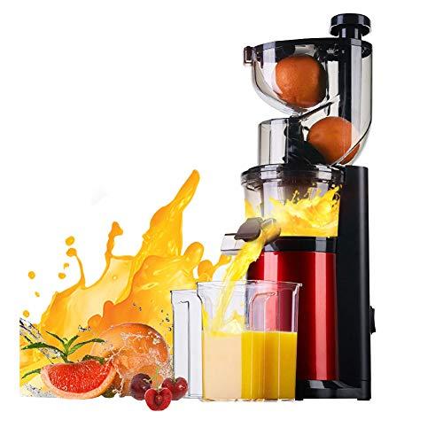 HBBenz Licuadora Frutas Verduras, Boca Ancha de 80mm Extractor de Zumos con Función Inversa,Motor Silencioso, Desmontable 180W Libre de BPA, para Frutas y Verduras,Red