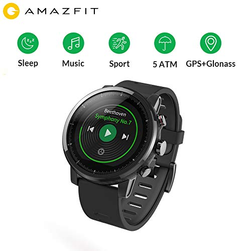Huami AMAZFIT Stratos 2 Smart Sports Watch Health Tracker Nuoto Smartwatch (5ATM impermeabile 2.5D Screen GPS + Glonass Bluetooth Music Mi Fit App)