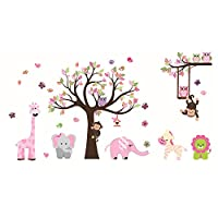 ufengke Animal Tree Wall Stickers Elephant Giraffe Wall Decals Art Decor For Kids Bedroom Nursery DIY