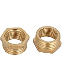 Tradico® 1/2BSP Male X 3/8BSP Female Thread Brass Hex Bushing Pipe Fitting 2pcs