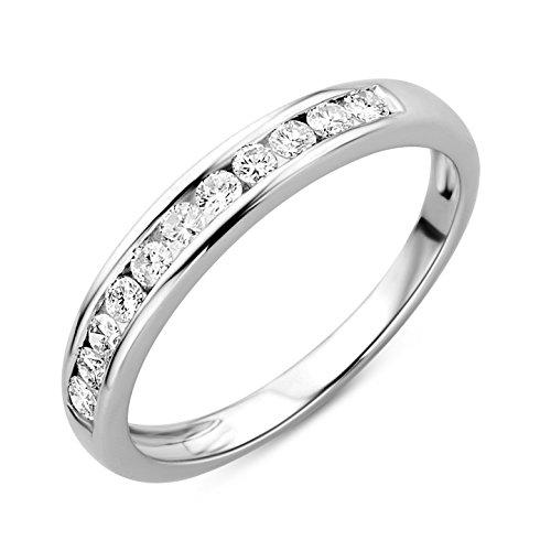 Orovi Damen-Ring Memoire HochzeitsringWeißgold 14 Karat (585) Brillianten 0.33 carat Verlobungsring Diamantring - Größe 11 Damen-verlobungsringe,