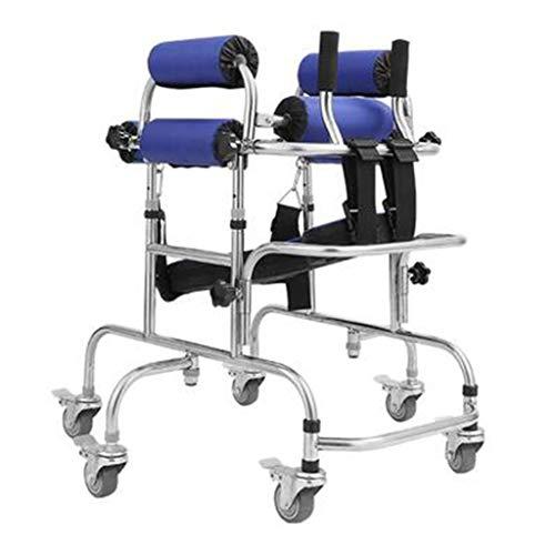 Muletas Andador Rehabilitación para Niños Ejercicio Stand Rueda para Discapacitados Plegado Plegable Andador Estable Silla Auxiliar para Seguridad (Color : A, Size : 45 * 70 * 90cm)
