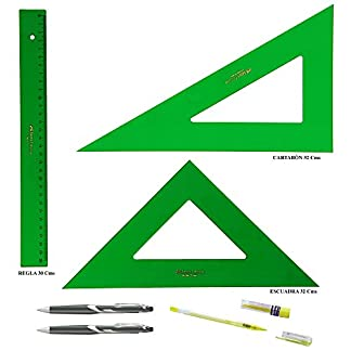 PACK LOTE Faber Castell Técnico – Regla 813-30 Cms + Escuadra 566-32 Cms + Cartabón 666-32 Cms + REGALO