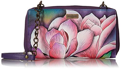 ANUSCHKA Damen Handbemalte RFID Leder Umhängetasche mit Rundum-Reißverschluss, Einheitsgröße, Magnolia Melody - Tragen Sie Augen-palette