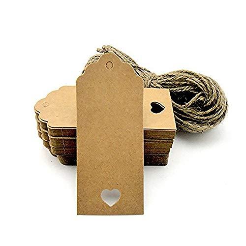agujero en forma de corazón del regalo de Kraft etiquetas para imprimir etiquetas etiqueta de la caída de 9,5 * 4,5 cm etiquetas de precio en blanco tarjetas de papel DIY Etiquetas del regalo 100PCS