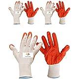 SAFEYURA Reusable Cut Resistant Gardening Gloves (Orange) -3 Pairs