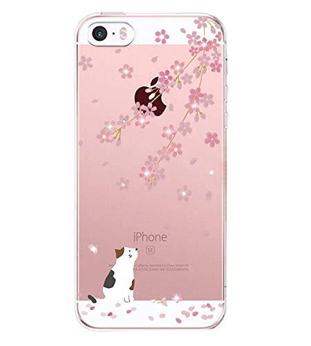 AIsoar iPhone 55S SE Fall, Slim Fit Transparent Soft TPU Cute Cartoon Tier-Muster Case Anti Scratch Transparent Schutz stoßfest Cover Hüllen für iPhone 55S SE Yellow Cat
