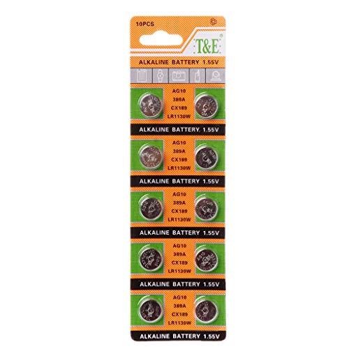 Brilcon 10 Knopfzellen AG10 Batterie 1,5 V rund Knopfzelle Batterie für Uhren Uhren Controller Spielzeug SR54 389 189 LR1130 SR1130 Lithium-Batterie Hohe Energiedichte Haushalt Batterie