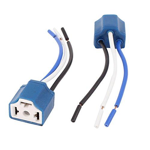 Preisvergleich Produktbild sourcingmap® 2 stk. Blau H4 Keramik 3-Draht Scheinwerfer Harness Nebel Licht Sockel für Auto