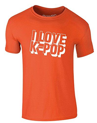 Brand88 - I Love K-Pop, Erwachsene Gedrucktes T-Shirt Orange/Weiß