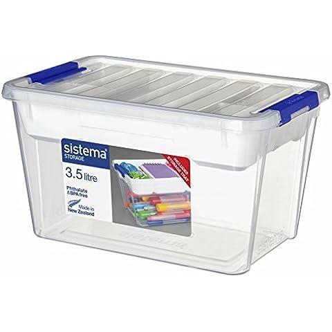 Sistema Storage Contenedor, Polipropileno, con Bandeja, Plástico, Transparente, 3.5 litros