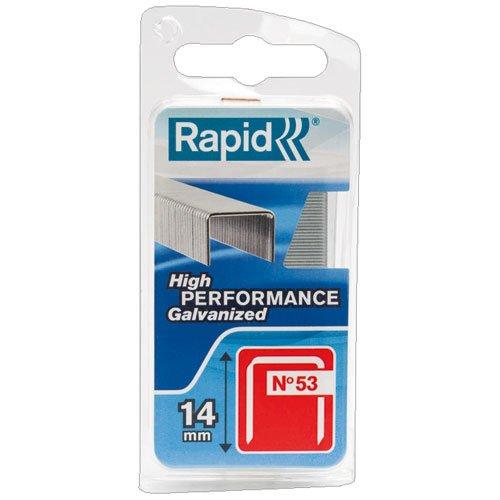 Rapid, 40109506, Agrafes en fil fin N°53, Longueur 14mm, 1080 pièces, Pour le textile et la décoration, Fil galvanisé, Haute performance