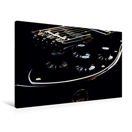 Premium Textil-Leinwand 75 cm x 50 cm quer, GOLD GLOW - Detailansicht einer Gitarre | Wandbild, Bild auf Keilrahmen, Fertigbild auf echter Leinwand, Leinwanddruck: Low-key Fotografie (CALVENDO Kunst)