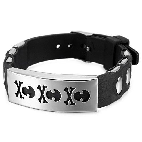 Verkauf Für Kostüm Piraten - INBLUE Herren Damen Edelstahl Gummi Armband Armreif Manschette Pirat Totenkopf verstellbar
