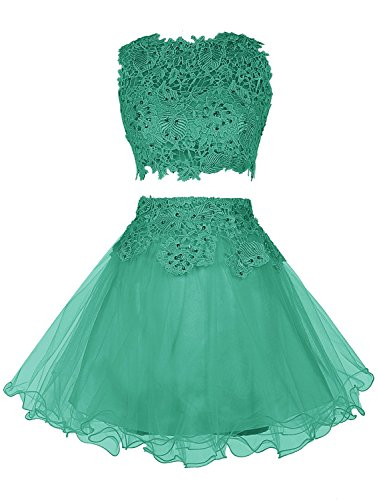 Wedtrend Damen Zwei-teiliges Kurzes Brautjungfer Kleid Homecoming Kleid mit Gipüre WT11060-Green-12
