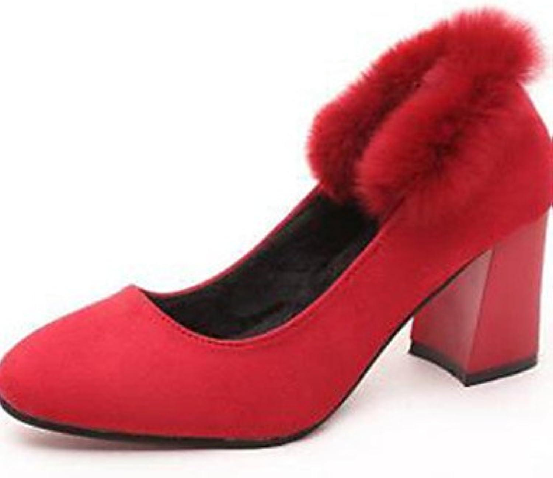 ZQ Zapatos de mujer-Tac¨®n Robusto-Tacones-Tacones-Oficina y Trabajo / Vestido-Sint¨¦tico-Negro / Rojo / Gris...