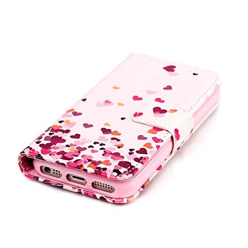 Aeeque iPhone 5S Bookstyle Étui Card Slot [Beau Series] Housse en Cuir Fermeture Magnétique Case à rabat pour iPhone 5 5S SE Coque de protection Portefeuille TPU Case - Papillon Bleu Couleur Amour