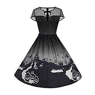 JERFER Halloween Vintage Evening Party Dress Women Fashion Lace Short Sleeve Dress