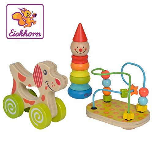 Eichhorn 100003750 3-TLG. Spiele Set, bestehend aus Steckfigur Clown, Motorikschleife, Schiebehund, Birkenholz, Sperrholz, TB/Blister, 1J+, bunt