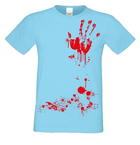 Extrem stylisches gruseliges Halloween-Herren-Fun-T-Shirt als Geschenke-Idee Motiv: Blutige Hand Farbe: hellblau Hellblau