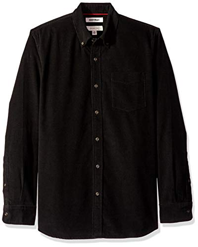 Amazon-Marke: Goodthreads Herrenhemd, Langarm, schmale Passform, aus Cord, Schwarz (Black Bla), US M (EU M)