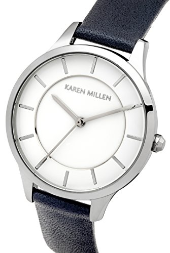 Karen Millen Women's Quartz Watch with White Dial Analogue Display and Navy Leather Strap KM133U