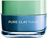 L'Oreal Paris Pure Clay Blue Face Mask with Marine Algae, Clears blackheads and Shrinks pores, 5
