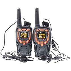 Cobra AM846 Talkie-walkie léger avec une portée jusqu'à 10 km, VOX, fonction d'économie d'énergie, écouteurs mains libres (set de 2) - noir