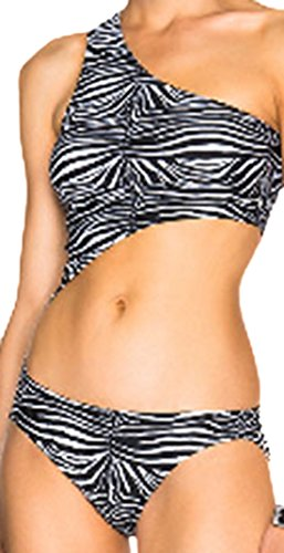 erdbeerloft - Damen Monokini mit Zebra Print, Cut Out Badeanzug, M, Schwarz-Weiß (Print-zebra-bikini)