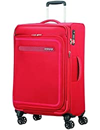 American Tourister Airbeat - Spinner 68/25 Expandable Equipaje de mano, 68 cm, 75 liters, Rojo (Pure Red)