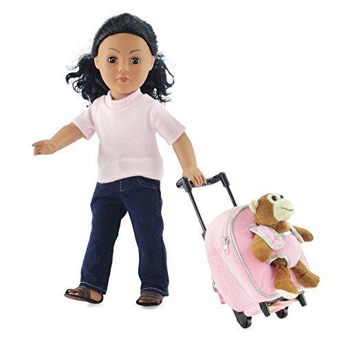 18 Inch Doll Rolling Backpack Luggage w/ Detachable Monkey |