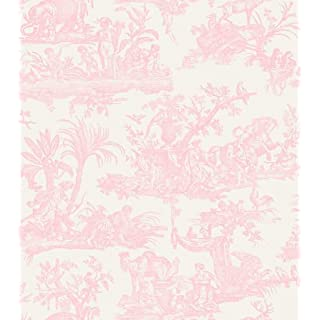 Amelia Toile De Jouy Wallpaper Pale Pink 262994