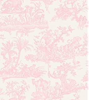 Toile De Jouy French Print Wallpaper Vinyl Beige Black Scenic Nature Fine Decor
