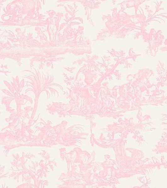 Amelia Toile De Jouy Wallpaper Pale Pink 262994 Amazon Co Uk Kitchen Home