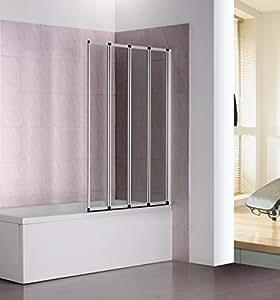 badewannenfaltwand 4 teilig um 180 grad drehbar sicherheitsglas 140 x 100 cm wei amazon. Black Bedroom Furniture Sets. Home Design Ideas