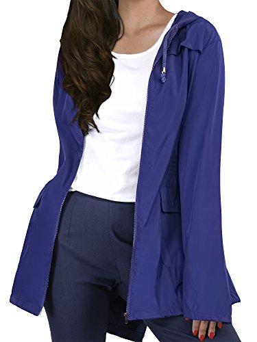 HENCY Veste De Pluie Femme Imperméable Pliable Capuche Casual Femme Manteau Imperméable Manches Longues Bleu