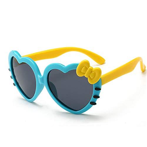 Wang-RX Katze Kinder Sonnenbrille Polarisierte Herzform Für 3-13 Jahre Kinder Mädchen Brillen Baby TR90 Flexible Sonnenbrille UV400