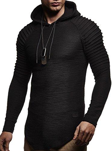 LEIF NELSON Herren Kapuzenpullover Slim Fit Baumwolle-Anteil | Moderner weißer Herren Hoodie-Sweatshirt-Pulli Langarm | Herren schwarzer Pullover-Shirt mit Kapuze | LN8128 Schwarz Small