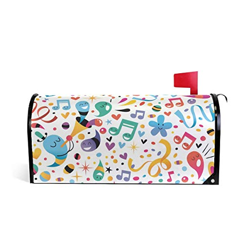 thday Flower Music Notes Magnetic Mailbox Cover Home Garden Decorations 21 x 18 Inches Waterproof Canvas Mailbox Cover ()