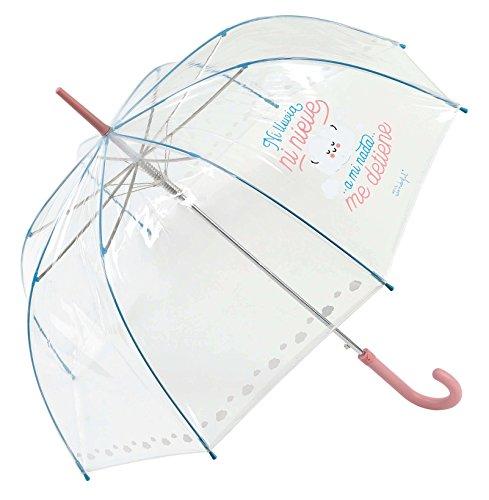 Mr. Wonderful - Paraguas transparente, largo, rosa