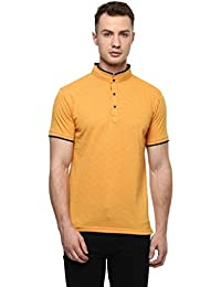 Cayman Mustard Solid Regular Fit Polo T-shirts