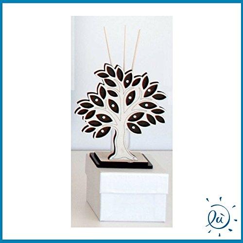 Bomboniere profumatore mini albero della vita wenge' con base legno misura 7x8 cm