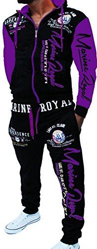 Herren Fitness Jogginganzug Sportanzug Trainingsanzug Marine Royal Arms (4XL, Schwarz-Lila