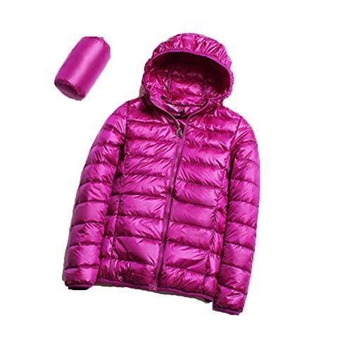 S.CHARMA Women's Packable Ultra Light Weight Short Down Jacket Hooded - Travel Bag Purple