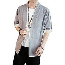 PengGengA Verano Cloak Cárdigan Kimono Japón Capa para Hombres Mujeres Kimono Jacket Casual Chinese Style