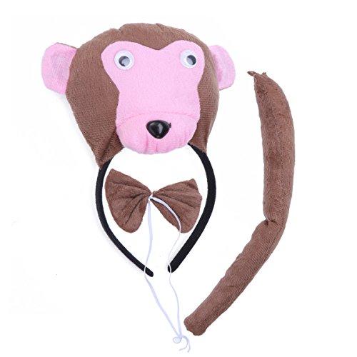 BESTOYARD Kinder Kostüme Affe Kopf Stirnband mit Ohren Tier Schwanz Fliege für Cosplay Halloween Party Favors 3 Stück (Affen Kostüm Mit Schwanz Und Ohren)