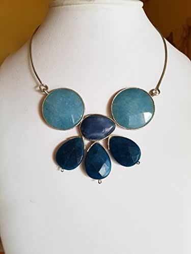 Colors - Collier realizzato in argento 925 semirigido con agate azzurre e blu