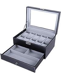 Présentoir de montres pour homme par Bastuo, pour 10 montres, en similicuir, coffret à bijoux, avec clé et serrure, noir