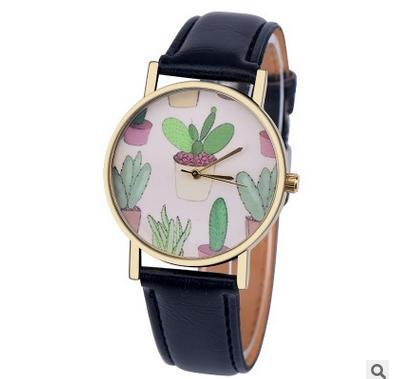 souarts-womens-black-artificial-leather-cactus-pattern-dial-quartz-analog-wrist-watch-24cm