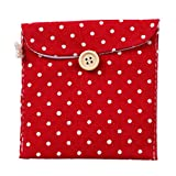 Tempshop Hygiene-Servietten, niedlich, gepunktet, Baumwolle, für Menstruationstassen, Stilleinlagen, Tasche mit Knöpfen rot